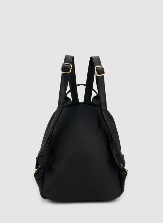 Zipper Trim Backpack, Black, hi-res