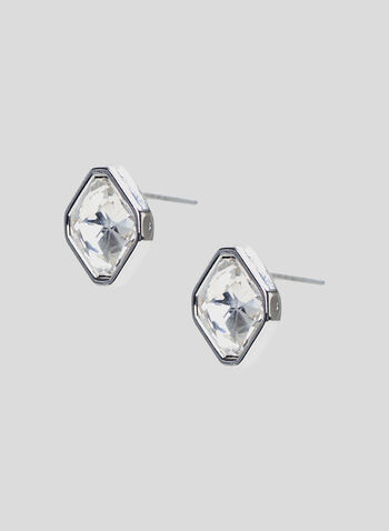 Square Crystal Stud Earrings, Silver, hi-res
