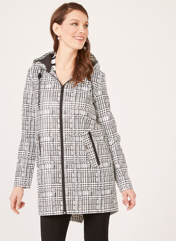 Chillax – Houndstooth Print Raincoat, Black, hi-res