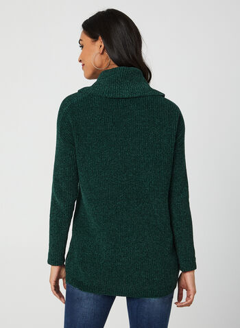 Cowl Neck Chenille Sweater, Green,  sweater, knit, long sleeves, chenille, cowl neck, fall 2019, winter 2019