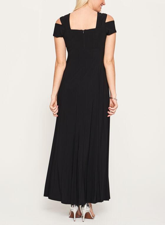 Robe style bustier à épaules dénudées et strass, Noir, hi-res