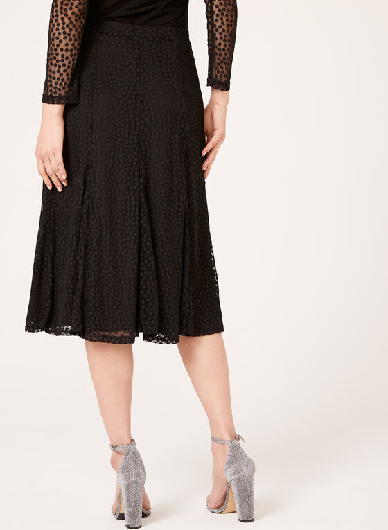 Chiffon Dot Print Skirt , Black, hi-res