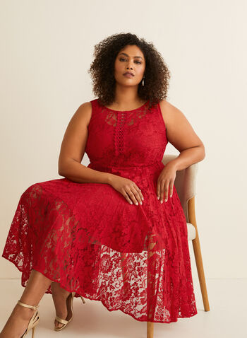Sleeveless Crochet Lace Dress, Red,  day dress, crochet lace, fit & flare, pleated, sleeveless, scoop neck, keyhole, spring summer 2020