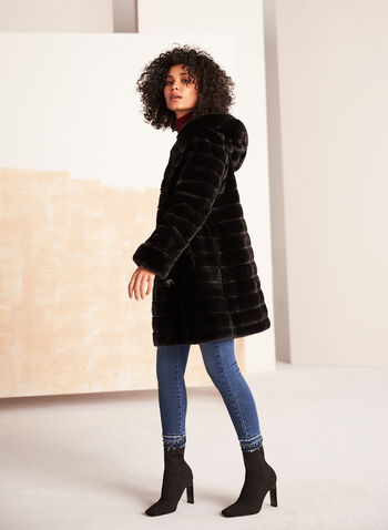 Reversible Faux Fur Coat, Black,  coat, faux fur, waterproof, reversible, hood, pockets, fall winter 2020