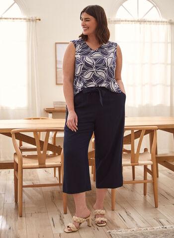 Pull-On Gaucho Pants, Blue,  spring summer 2021, pants, capri, capris, gaucho, pull on, wide leg, sash, side pockets, linen
