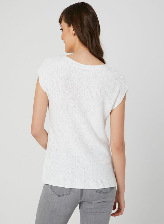 Drop Shoulder Knit Top, White
