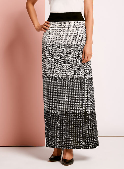 Geometric Gradient Print Maxi Skirt, Black, hi-res