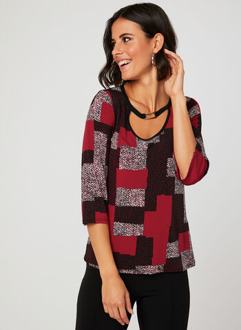 Patchwork Print Metal Detail Top, Black, hi-res