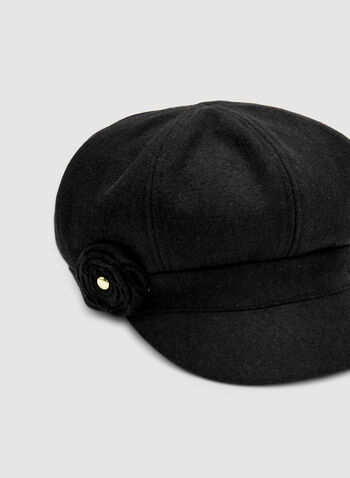 Felt Newsboy Cap, Black,  newsboy cap, hat, felt, fall 2019, winter 2019