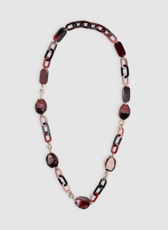 Long Resin Necklace, Red