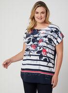 T-shirt à fleurs et rayures, Bleu, hi-res