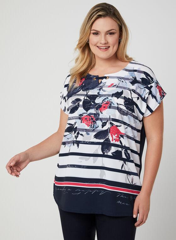 T-shirt à fleurs et rayures, Bleu