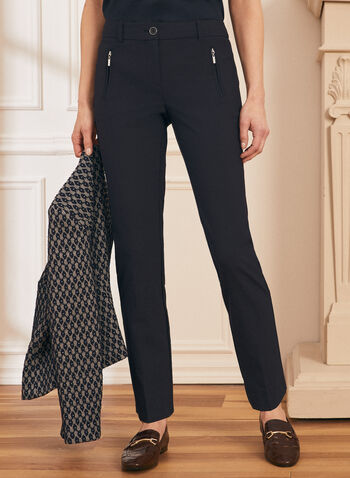 City Fit Straight Leg Pants, Blue,  city fit, straight leg, mid rise, belt loops, pleats, zippered welt pockets, spring summer 2021