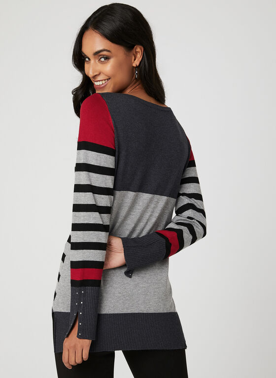 Long Sleeve Stripe Print Sweater, Grey, hi-res