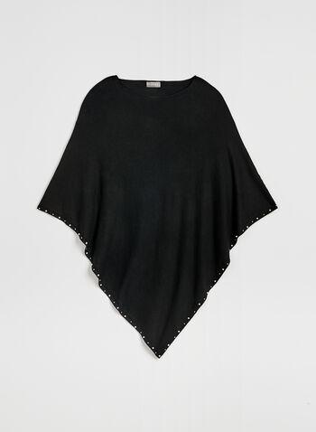 Poncho en tricot à perles et clous, Noir, hi-res