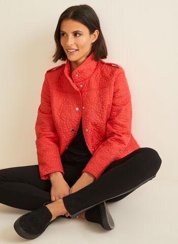 Novelti - Manteau matelassé aspect floral, Rouge,  manteau, matelassé, fleurs, col montant, boutons-pression, poches, printemps été 2020