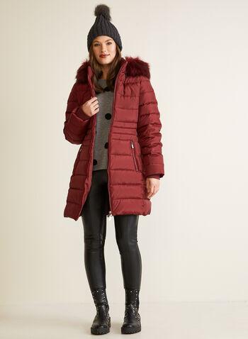 Manteau matelassé en duvet mélangé, Rouge,  automne hiver 2020, manteau, manteau d'hiver, matelassé, duvet, capuchon, fausse fourrure, plumes, poches, hydrofuge