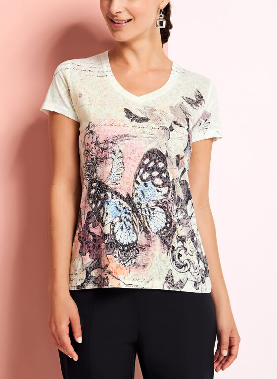 V-Neck Butterfly Print Top, Yellow, hi-res