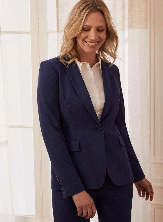 Single Button Notch Collar Jacket, Blue