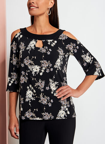 Floral Print Cold Shoulder Top, Black, hi-res