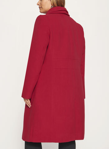 Double Collar Wool Like Coat, , hi-res