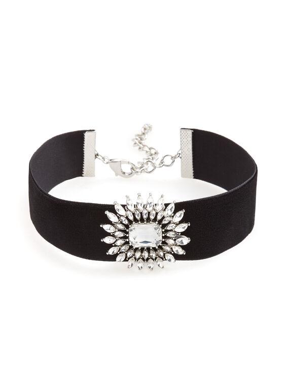 Velvet & Crystal Choker Necklace, Black, hi-res