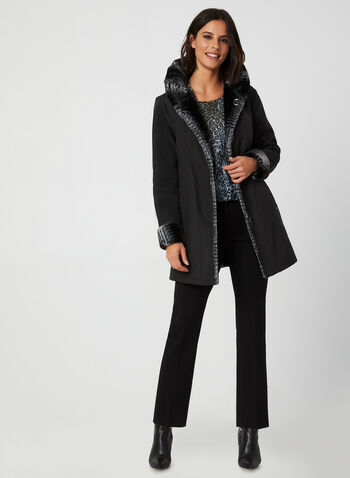 Novelti - Reversible Faux Fur Coat, Black, hi-res,  coat, faux fur, faux fur coat, reversible coat, water repellent, buttoned coat, fall 2019, winter 2019