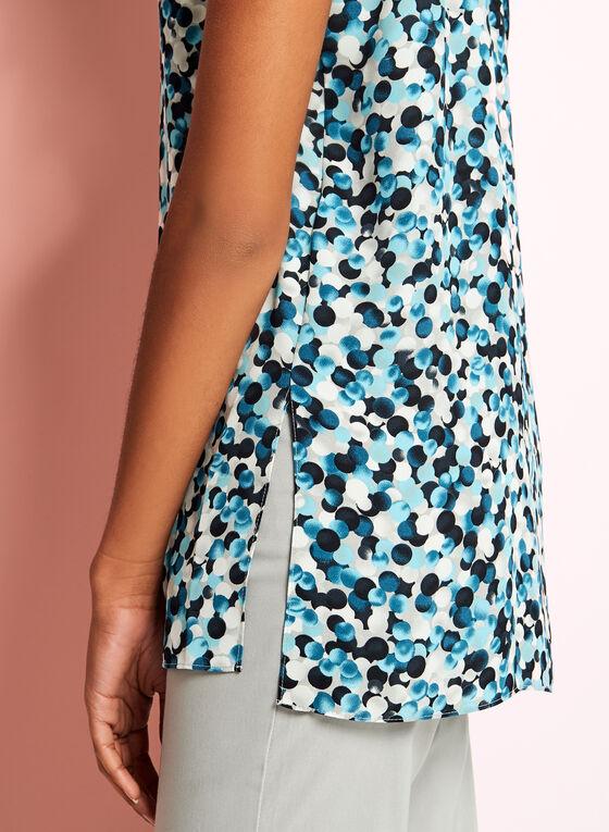 Sleeveless Dot Print Blouse, Grey, hi-res