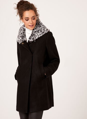 Novelti - Leopard Print Faux-Fur Coat, Black, hi-res