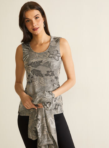 Rib-Knit Printed Top, Black,  spring summer 2020, sleeveless, rib-knit fabric, made in canada, floral pattern