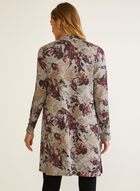 Floral Print Open Front Top, Purple