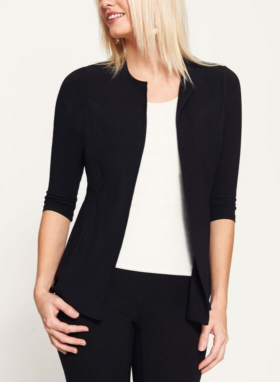 ¾ Sleeve Crepe Cardigan , Black, hi-res
