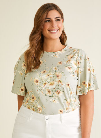 Chapter One - Floral Print Ruffle Sleeve Top, Green,  top, floral, ruffle sleeves, crepe, scoop neck, spring summer 2020