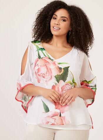 Frank Lyman - Floral Print Poncho Blouse , White, hi-res
