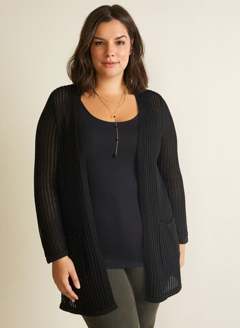 Crochet Long Sleeve Open Front Cardigan, Black,  open front, cardigan, long sleeves, crochet cardigan, spring 2020, summer 2020