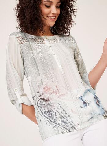 Vex – Crystal Embellished Floral Print Blouse, Blue, hi-res
