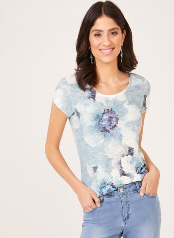 Floral Print Crystal Detail T-Shirt, Blue, hi-res