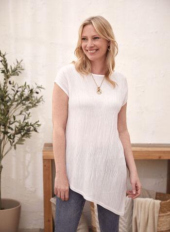 Short Sleeve Asymmetric Top, White,  sweater, short sleeves, asymmetric, textured, spring summer 2020