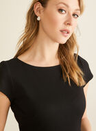Two-Tone Fit & Flare Dress , Black