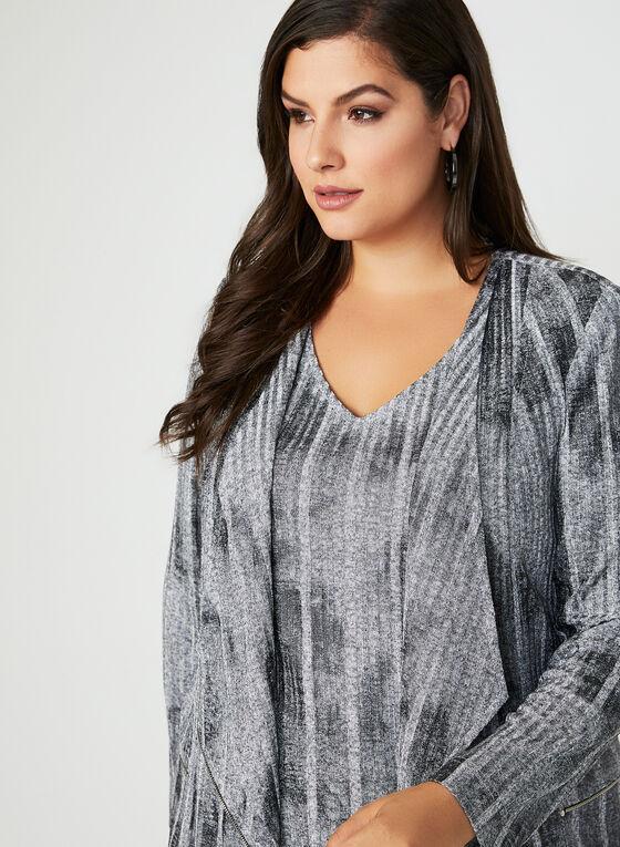 Vex - Haut ouvert en tricot métallisé, Gris, hi-res