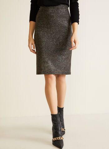 Shimmer Elastic Waist Pencil Skirt, Black,  fall winter 2020, pencil skirt, fitted skirt, straight skirt, pull-on, slip on, elastic, lurex, shiny, made in Canada
