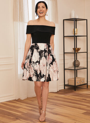 Flare Floral Print Dress, Black,  spring summer 2021, floral print, jersey bodice, off-the-shoulder neckline