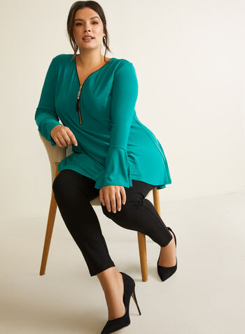 Joseph Ribcoff - Bell Sleeve Tunic, Green,  fall winter 2020, made in canada, tassel zip, tassel zipper, v neck, bell sleeve, long sleeve, ruffle, stretch