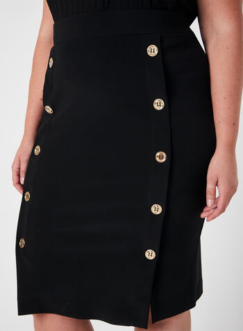Joseph Ribkoff - Midi Pencil Skirt, Black,  midi, pencil skirt, buttons, metallic, fall 2019, winter 2019