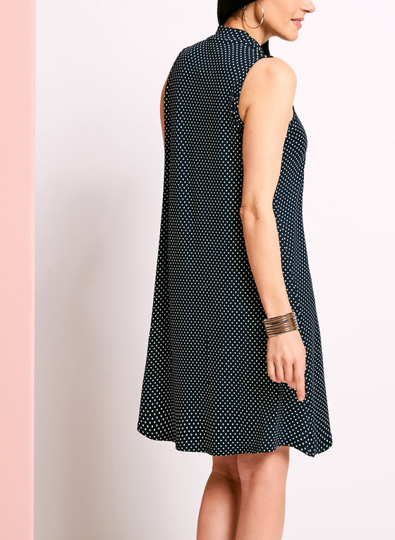 Mock Neck Dot Print Trapeze Dress, Blue, hi-res