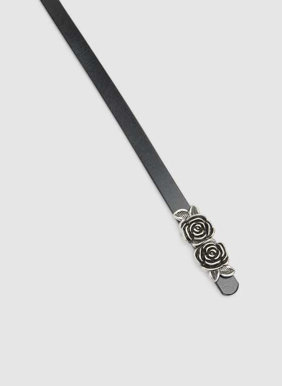 Thin Rose Buckle Belt, Black