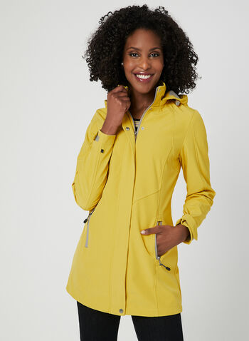 Novelti - Softshell Raincoat, Yellow, hi-res,  water resistant, spring 2019, removable hood