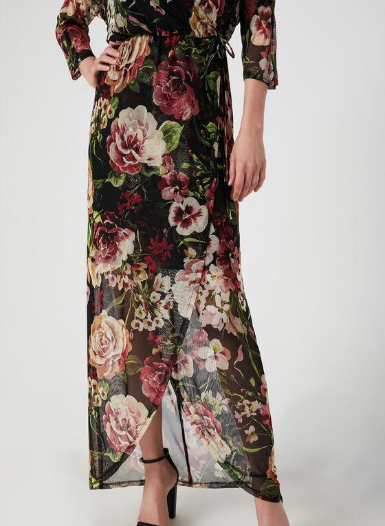 Robe maxi cache-cœur à fleurs, Noir