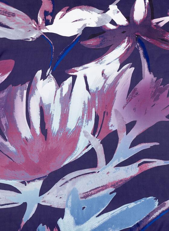 Jungle Floral Print Scarf, Blue, hi-res