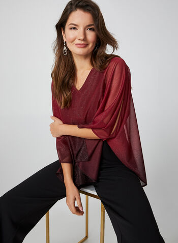 Glitter Mesh Poncho Blouse , Red,  top, poncho, glitter mesh, back slit, v-neck, 3/4 sleeves, fall 2019, winter 2019
